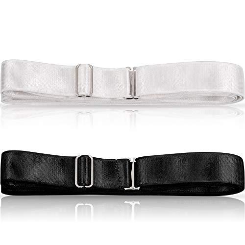 SATINIOR 2 Stück elastische Hemdstreben Gürtel Unterwäsche verstellbarer Hemdhalter schwarz weiß