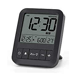 Liorque Digital Travel Alarm Clock with Calendar & Temperature Foldable LCD Clock with Snooze Mode, Large Number Display, Battery Operated, Compact Desk Clock