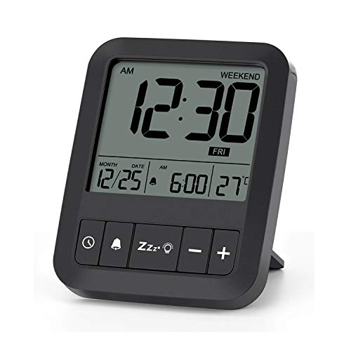 LIORQUE Sveglia da Viaggio, Sveglia da Comodino Orologio da Viaggio Portatile con Display Retroilluminato/Funzione Snooze/Temperatura/Calendario - Nero (Batteria Inclusa)