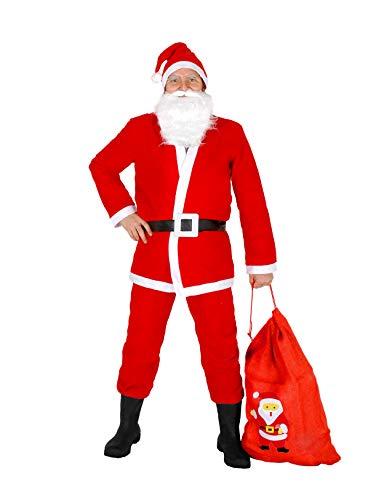 Ciao Costume Babbo Natale con sacco per Adulti, Rosso/Bianco, Unica, 25010