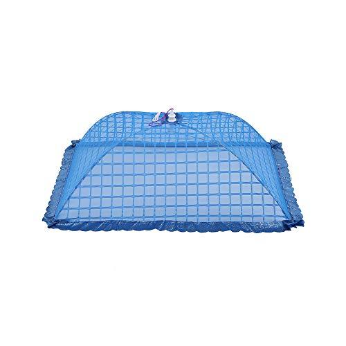 Mesh scherm paraplu voedsel Cover net tent herbruikbaar en vouwen 72x51 cm picknick barbecue Blauw