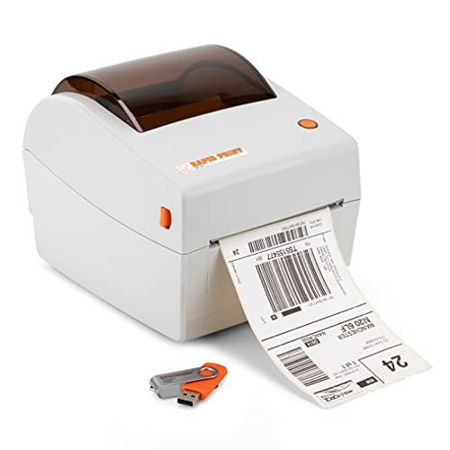 Rapid Print RP410 Direct Thermal 4x6 Shipping Label Printer, 250 Labels Incl, Barcode, Postage, Address, Customisable Size Sticker Maker, Small Business Machine High Speed, 203dpi, USB, Mac & Windows