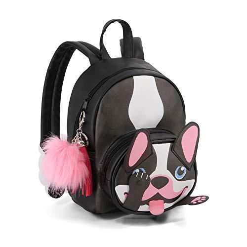 Oh My Pop! Bulldog-mochila Fashion Shy Mochila tipo casual, 28 cm, 8 litros, Negro