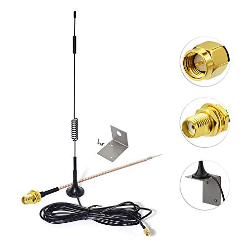 Eightwood 868mhz Antena 7dbi +SMA Cable 15cm+ Antena Montaje Base Soporte L Soporte for 4G Antena inalámbrica Homematic CCU2 CC1101 Netgear Sistema Fibaro Home Center 2 Netgear TP Enlace Dlink Belkin