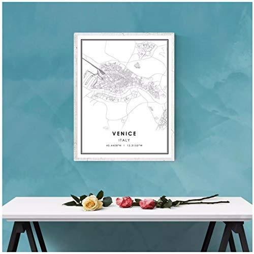 SYBS De la Lona de la impresión del Mapa de Venecia del Mundo de la Pintura del Cartel en la Lona |Mapa de la Ciudad de Venecia Italia impresión en lienzo-57x80cm1pcs sin Marco