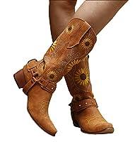 女性のひまわりのブーツカウボーイ西部ブーツチャンキーヒール中央子ぶどうブーツ2021ビンテージフェイクレザーフラワー花の刺繍のブーツ,ブラウン,36