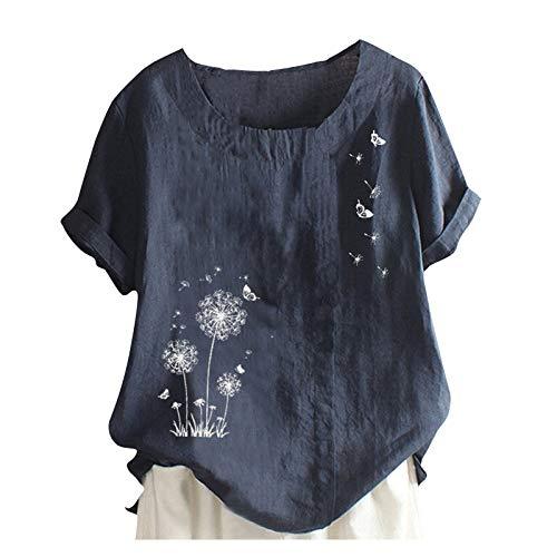 T-Shirt Damen Rundhals Löwenzahn Kurzarm Oversize Leinenbluse Elegant Top Lässige Pullover Loose Tunikan Casual Bluse Oberteil Kleidung