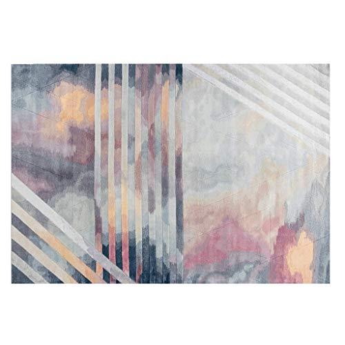 Alfombra rectangular alfombra alfombra de fibra de algas naturales hechas a mano, decoración de piso de arte abstracto, lavable 5.2 × 7.5 pies