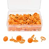 VAPKER 200 PCS Thumb Tacks Orange Color Plastic Round Head Push Pins Thumbtacks