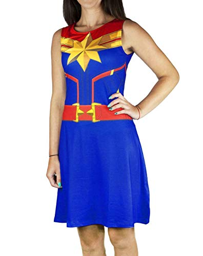 Captain Marvel Super Heroine Costume Women's Sleeveless Fancy Dress in Blue