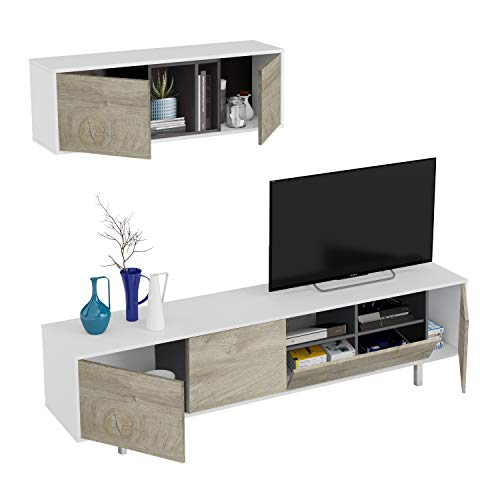 Habitdesign Mueble de Salon, Modulo Comedor, Modelo Ciara, Acabado en Blanco Artik y Roble Alaska Medidas: 200 cm (Ancho) x 47 cm (Alto) x 40 cm (Fondo)