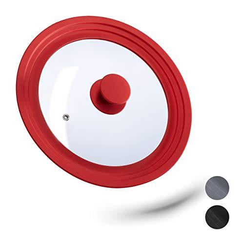 relaxdays 10027988_47 Coperchio Universale in Vetro, con Bordo in Silicone per Pentole & Padelle 22-26 cm, HxD: 5 x 27,5 cm, Rosso, Metallo