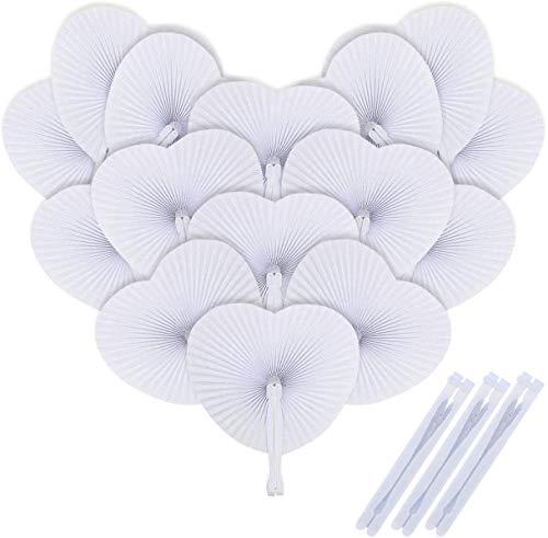 iZoeL 48 Abanicos de papel blancos Abanico Plegable corazón regalos para boda...