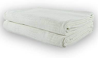 New Jmr White Hospital/Home Thermal Blanket Snagfree 100% Cotton Coach Throw or Quilt Twin Size 66x90 (White, 66x90)