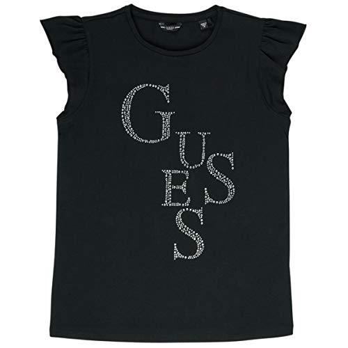 Guess J01I07 K82K0 - Camiseta para niña con logotipo de brillantes, color negro