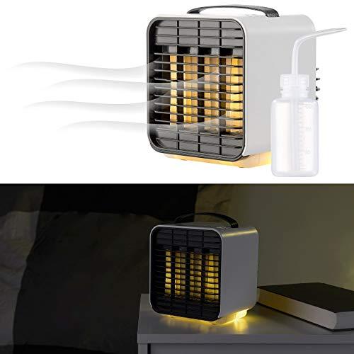 Sichler Haushaltsgeräte Tischluftkühler: Mobiler Mini-Akku-Luftkühler, 3-stufig, Nachtlicht-Funktion, 5 h Lz. (Akku Ventilator)