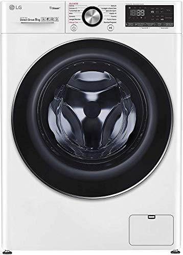 LG F4WV909P2 Lavatrice a Carica Frontale 9 Kg Libera Installazione, 1400 Giri/min, Classe A+++ -50%, Intelligenza Artificiale, Funzione Vapore, Oblò in Vetro Temperato, 60 x 56 x 85 cm - Bianco