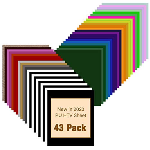 JANDJPACKAGING HTV Heat Transfer Vinyl Bundle - 43 Pack 12' x 10' PU Iron on Vinyl for T-Shirt, 32 Assorted Colors HTV Vinyl for Cricut, Silhouette Cameo or Heat Press Machine