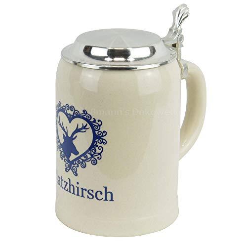 Bierkrug Platzhirsch 0,5 L mit Zinndeckel Bier Krug Humpen Seidel