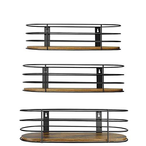 UMI. by Amazon - Estantes Colgantes de Madera rústica, Paquete de 3 para decoración de estantes Colgantes de Cocina, Sala de Estar y Dormitorio