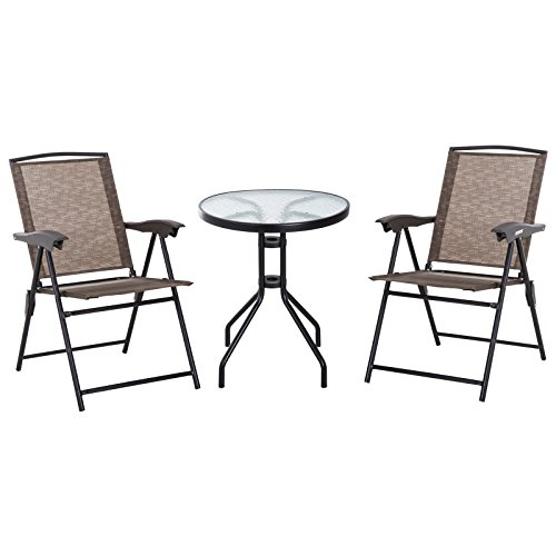 Outsunny 3 Piece Patio Furniture Bistro Set 2 Folding Texteline Chairs 1 Tempered Glass Table Adjustable Backrest - Brown