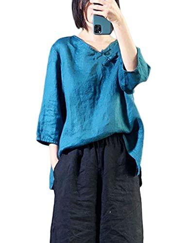 NFYM Camisas de lino para mujer 3/4 manga Tops lavado retro chino rana botón suelta Tops blusa, Azul / Patchwork, Talla unica