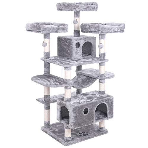 BEWISHOME Large Cat Tree Condo with Sisal Scratching Posts Perches Houses Hammock, Cat