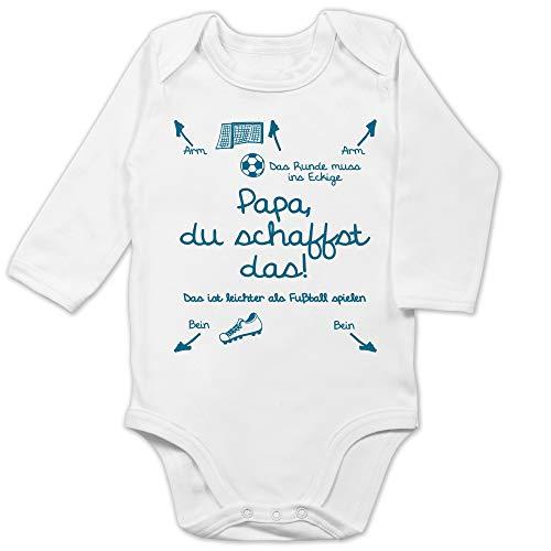 Shirtracer Strampler Motive - Papa du schaffst das Fußball Junge - 3/6 Monate - Weiß - fußball Baby - BZ30 - Baby Body Langarm