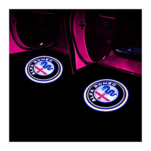 Luces laterales para coche Bienvenido Luz compatible con Alfa Romeo LED Puerta del coche de insignia agradable luz del proyector Giulia Giulietta Mito Stelvio Brera 147 156 159 Styling Lámpara para pu
