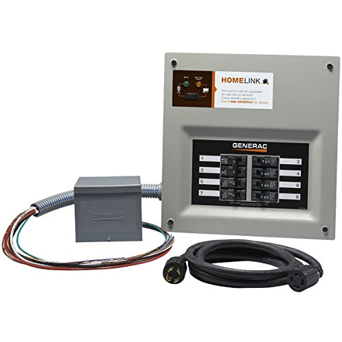 Generac 6853 Home Link Upgradeable 30 Amp Transfer Switch Kit with 10  Cord and Resin Power Inlet Box