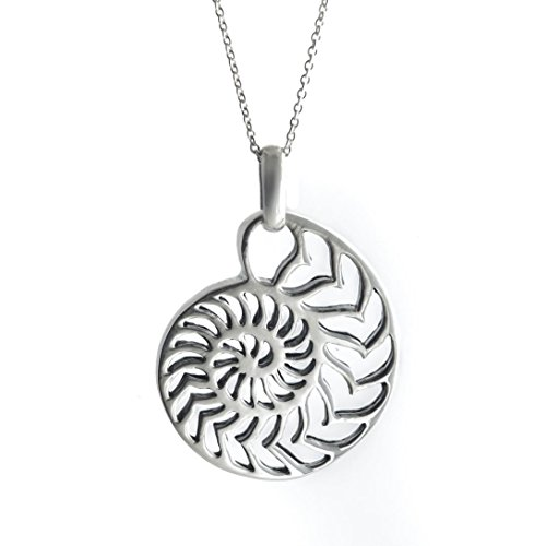 Silverly Women's .925 Sterling Silver Nautilus Ammonite Shell Chain Pendant Necklace, 18'