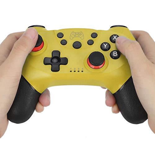 DAUERHAFT Manija fácil del Juego de la manipulación del Gamepad inalámbrico de Bluetooth, para el anfitrión del Interruptor, para el Juego(Yellow)