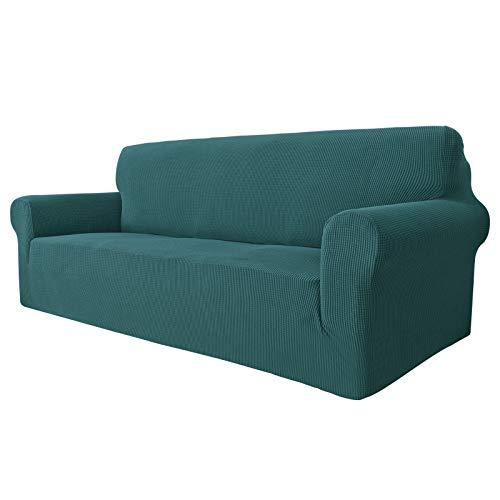 MAXIJIN Super Stretch Couch Bezug für 3-Sitzer Couch, 1-teilige Universal-Sofabezüge Wohnzimmer Jacquard Spandex Möbelschutz Hunde Haustierfreundliche Couch Schonbezug (3 Sitzer, Schwarzgrün)