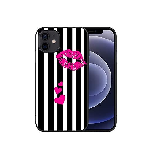 APHT Labios Rojos Phone Funda Protectora Compatible para iPhone 5-12 Pro MAX Flexible Suave Carcasa Ultrafina Gel TPU Silicona Antigolpes Piel Protectora Case Cover