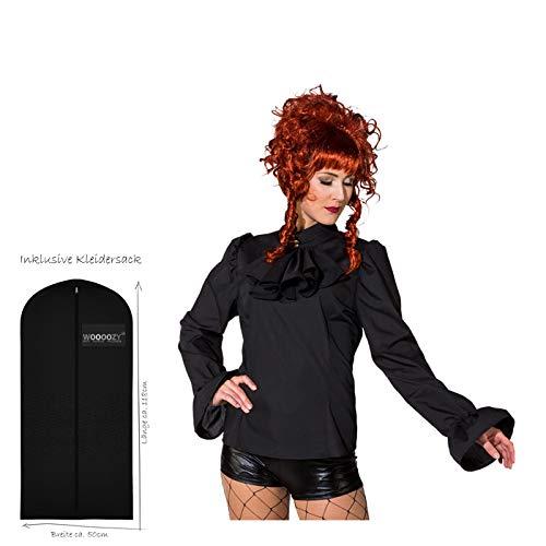 WOOOOZY Damen-Bluse mit Jabot, schwarz, Gr. 44 - inklusive praktischem Kleidersack