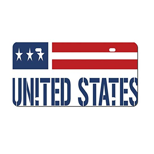 Stars And Stripes Flag Inspired Design License Plate, Decorative Car Front, Metal Car Plate, License Plate, Vanity Tag, Aluminum Noverlty License Plate for Men/Women/Boy/Girls Car 6×12 Inch