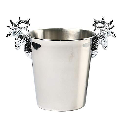 Cubo de Hielo de Barra 3 litros cubo de hielo de acero inoxidable vino de hielo del buque asa de diseño retro de la cabeza de los ciervos, Vino de Champagne barril de cerveza conveniente for el hogar