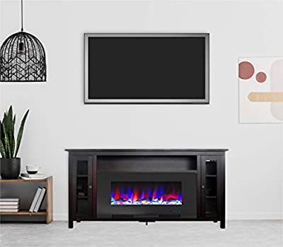 Cambridge Somerset 70-in. Mahogany TV Stand with Multi-Color LED Flames, Driftwood Log Display, and Remote Control, CAM6938-2MAH Electric Fireplace