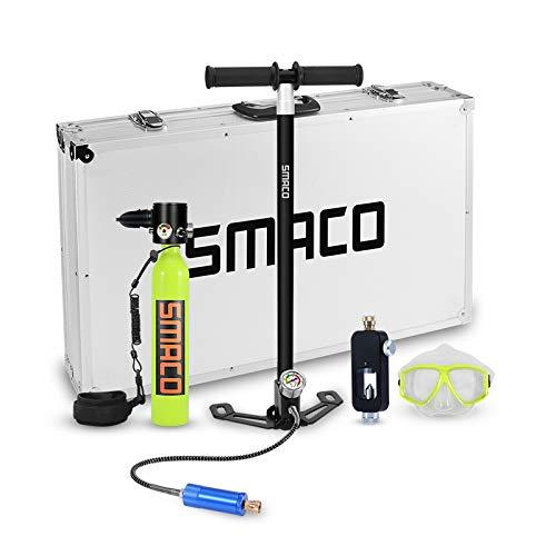 Smaco - Equipo de oxígeno para bucear, bombona de oxígeno cilíndrica, portátil y ligera, respirador + bomba de aire de alta presión