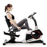Marcy ME-706 - Bicicleta de ejercicio reclinable con asiento ajustable, monitor de pulso y ruedas de transporte