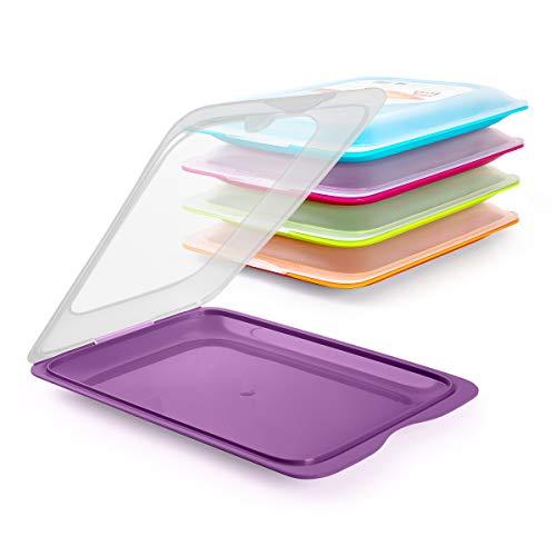 Tatay Lote Porta Embutidos y Alimentos Fresh en Colores, Medidas 17 x 3.2 x 25.2 cm (5X Berenjena)