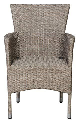 PKline Polyrattan tuinstoel armleuning Triol stapelbaar natuur stoel met hoge rugleuning