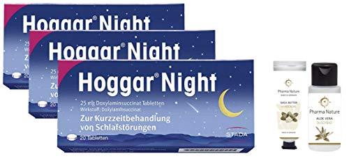 Hoggar night Tabletten 3 x 20 Stück Sparset inkl. einer pflegenden Handcreme o. Duschbad von Pharma Nature