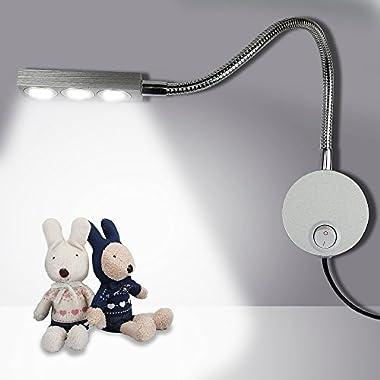 Plug Wired Flexible 3X 1W 85-265V Aluminum Gooseneck Led Wall mount Light Sconce Lamp Lighting with Switch for Bedroom Reading & Multi-purpose lighting (Cool White Lighting)
