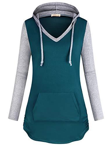 BAIKEA Damen Kurzarm Still-Tunika Tops Sommer Strick Umstands-Shirts (Cyan, Large)