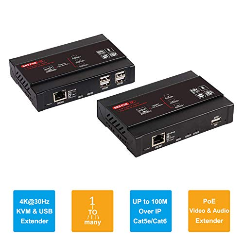 TreasLin 4K KVM Extender HDMI USB Splitter Kit Über LAN IP Ethernet CAT5 CAT5E Cat6, 1 to Many,Support Keyboard/Mouse,USB 2.0 Hub Extending,TSV563