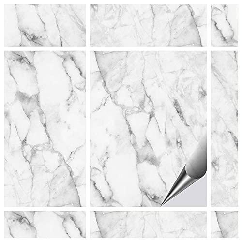 FoLIESEN Fliesenaufkleber 15x20 cm - Fliesen-Folie Bad - Klebefolie Küche - 60 Klebefliesen, Dekor Marmor