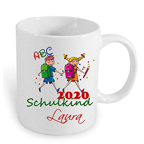 Namens-Tasse Geschenk zum Schulanfang Erster Schultag HM~ AA677 ~ Schulkind 2020 Mädchen Junge Einschulung