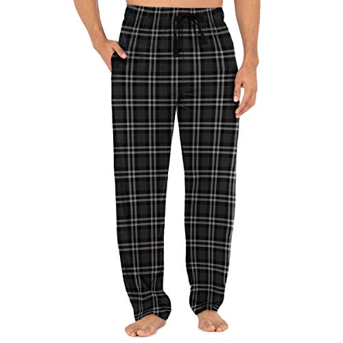 Fruit of the Loom Men's Yarn-dye Woven Flannel Pajama Pant, Grey Plaid, Small