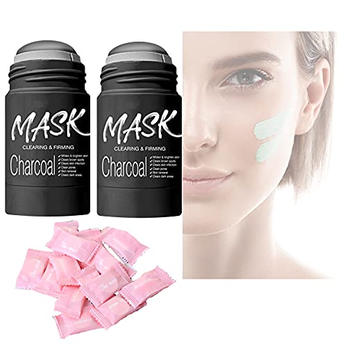 2PCS Green Tea Mask Stick, Poreless Deep Cleanse Bamboo charcoal Mask Stick, for All Skin Types Purifying Blackhead Exfoliating - Includes 10PCS One-Time Compression Mask (Bamboo charcoal)